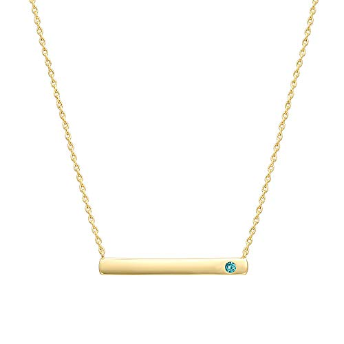 PAVOI 14K Gold Plated Swarovski Crystal Birthstone Bar Necklace | Dainty Necklace | Gold Necklaces for Women | May