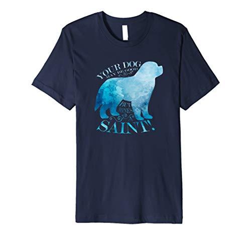 Saint Bernard Dog T-Shirt on Watercolor Silhouette