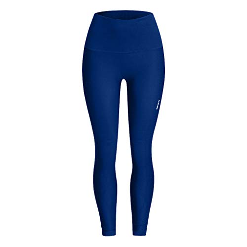 iHPH7 Yoga Pants High Waist Leggings Control Workout Pants for Women Seamless Solid Yoga Sports Tight Pants Hips High Waist Thread Pant (S/M,5- Blue)