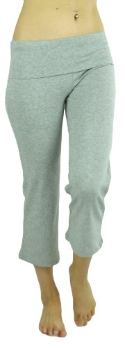 ToBeInStyle Women's Cropped Yoga Sweatpants Bermuda Capris w/ Fold Over Waistband - Small - Gray
