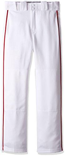 Easton Boys Rival 2 Piped Baseball Pants, White/Red, Medium