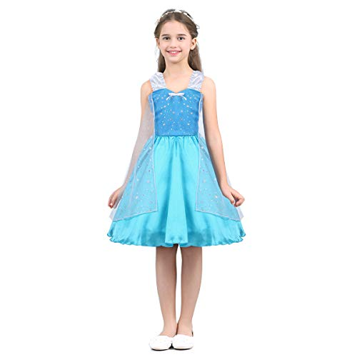 iEFiEL Kids Girls' Princess Dress Fairy Tale Sweetheart Fancy Party Costumes Halloween Cosplay Light Blue 7-8