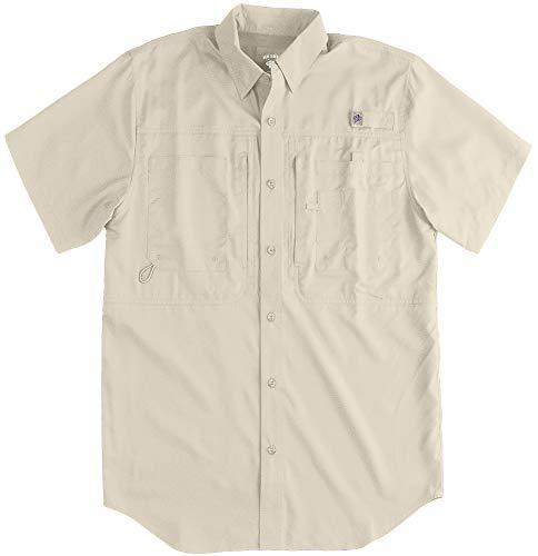 Reel Legends Mens Saltwater II Short Sleeve Shirt Large Feather Grey (Tibor Saltwater Reel)
