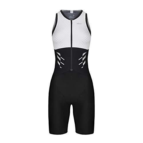 - ROKA Women's Gen II Elite Aero Sleeveless Triathlon Sport Suit - White/Black - Medium