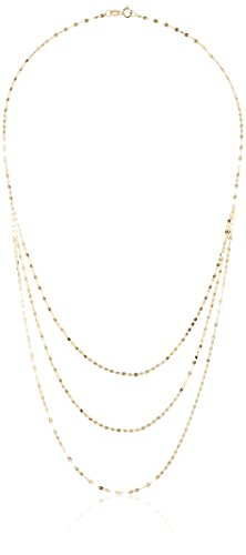 10k Yellow Gold Three Strand Graduated Chain Necklace, 18'' by Amazon Collection