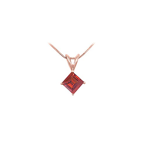 Created Ruby Solitaire Pendant 14K Rose Gold 1.00 CT TGW