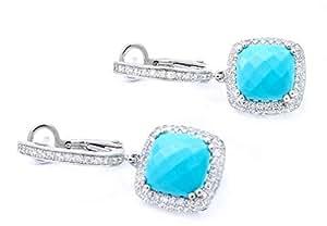 14K White Gold 0.45ct Diamond Turquoise Skyfall Drop Earrings [B14348]