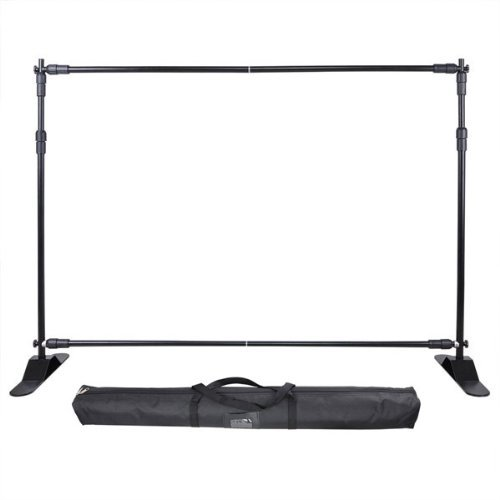 Exhibition Backdrop Stand Telescopic Wall Exhibitor Expanding Display Banner Adjustable Step and Repeat with Carry Case US Delivery(8'x 10')