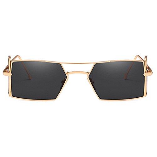 quatre femmes Vintage Gris soleil d'objectif pour lunettes rectangle hommes lunettes verres de soleil de Retro Doré Yefree q4fxwR7X