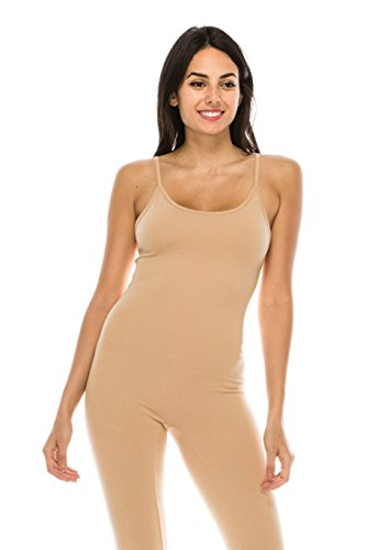 The Classic Womens Spaghetti Strap Catsuit Bodycon One Piece Jumpsuit Playsuit (Large, Nude)