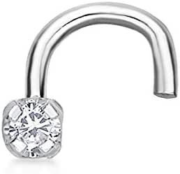 Amazon Com Diamond Nose Ring Curve Stud In 14k White Gold 01