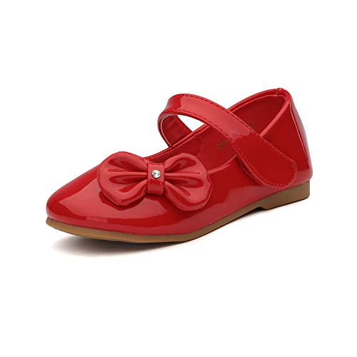 DREAM PAIRS Angel-5 Adorable Mary Jane Side Bow Buckle Strap Ballerina Flat (Toddler/Little Girl) New RED PAT Size 8 ()
