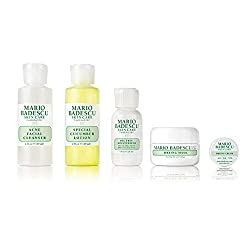 The Mario Badescu Acne Starter Regimen Kit is a must-have regimen designed to give troubled skin a clear start. It includes our Acne Facial Cleanser, our Special Cucumber Lotion, our Oil Free Moisturizer SPF 17, our Drying Mask and a sample of our Dr...