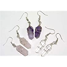 3 Pair Double Terminated Wire Wrapped Amethyst, Quartz & Rose Quartz Crystal Pt. Earrings Costume