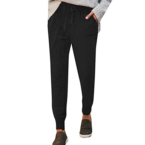 Women Pants Casual Stretch Drawstring Skinny Jogger High Waist Tie Butt Lift Pant with Pockets (XL, ()