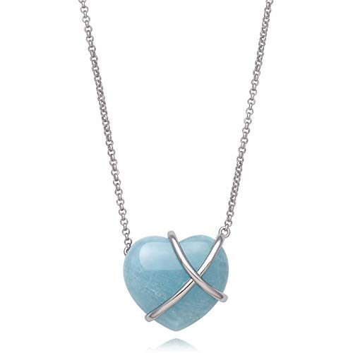 - Floating Sterling Silver Natural Aquamarine Heart Necklace