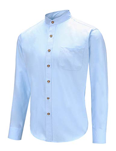 Men's Slim Fit Casual Oxford Dress Shirt Banded Collar Long Sleeve Button Down Shirts with Pocket (XL, PBlue)