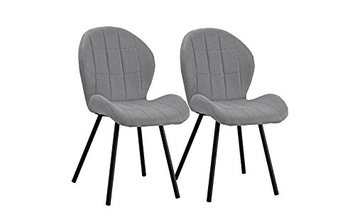 DIVANO ROMA FURNITURE Set of 2 Dining Chairs Fabric Cushion Accent Chair for Kitchen (Light Grey)
