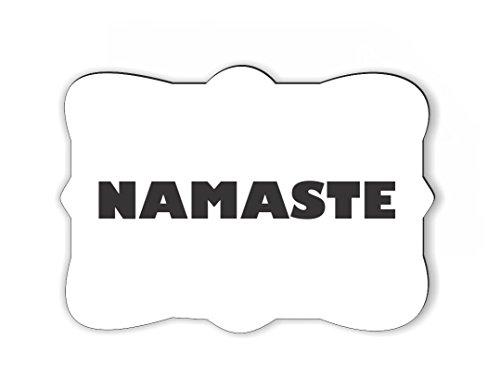 Rikki Knight Yogi Namaste White on Black Color Design Ornate Decorative Rectangular Shaped Fridge Magnet (Namaste Magnet)