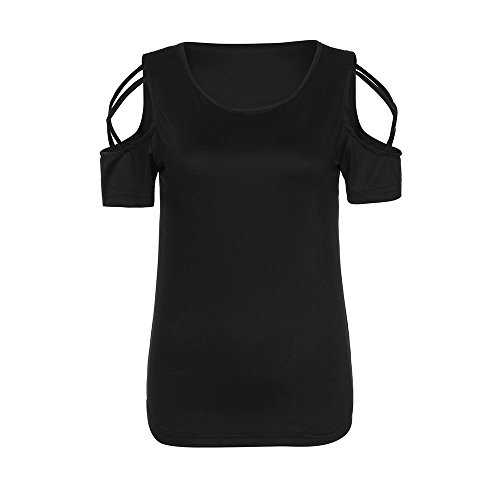1520605ded5fa AOJIAN Women Fashion Short Sleeve Strappy Hollow Out Cold Shoulder T-Shirt  Tops Blouses (Black