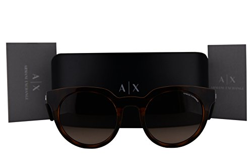 Armani Exchange AX4062S Sunglasses Transparent Champagne Top Havana w/Brown Gradient Lens 821513 AX - Rectangular Aviator Exchange Sunglasses Armani