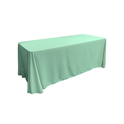 LA Linen Polyester Poplin Rectangular Tablecloth, 90 by 132-Inch, Mint