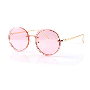 FBL Women's Rimless Metal Tinted Flat Lens Round Sunglasses A168 (Gold/ Pink)