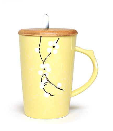 Ceramic Mug Floral Design with Spoon and Wood Lid Fine Porcelain Perfect for Coffee, Tea, Beverage (Lemon)