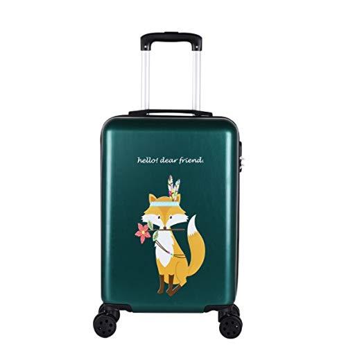 トロリーユニバーサルホイール漫画の子供のスーツケースの女性の韓国語バージョン24インチ20インチ26インチ B07PLHSQ9K グリーン S