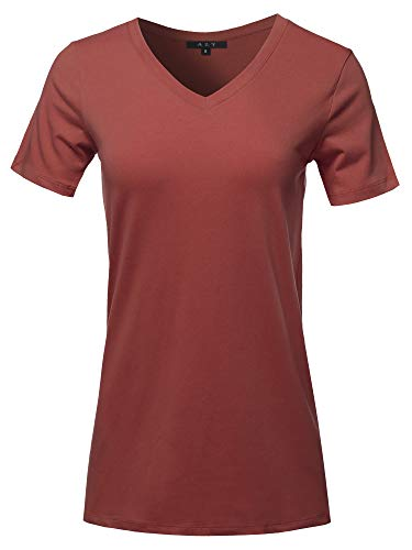 Basic Solid Premium Cotton Short Sleeve V-Neck T Shirt Tee Tops Fired Brick 1XL