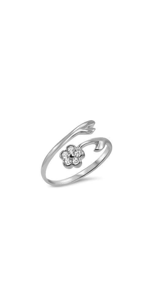 10k White Gold Toe Ring Clear Flower CZ. Size Adjustable by Nose Ring Bling
