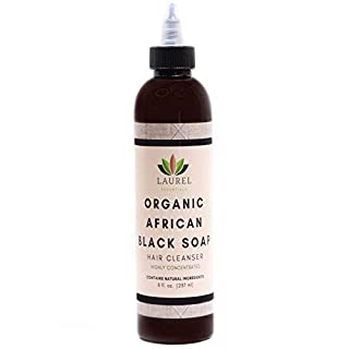 Organic African Black Soap Shampoo (8oz) - 100% Natural Ingredients - Anti-Dandruff - Clarifying & Moisturizing, Handmade with Raw African Black Soap by Laurel Essentials