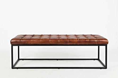 Jofran 1730-76 Global Archive 55 Leather Ottoman Bench, Lx17.5 Wx17.5 H, Saddle
