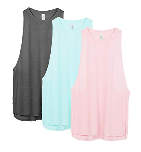 icyzone Workout Tank Tops for Women - Running Muscle Tank Sport Exercise Gym Yoga Tops Running Muscle Tanks(Pack of 3) (S, Charcoal/Pearl Blush/Aqua)