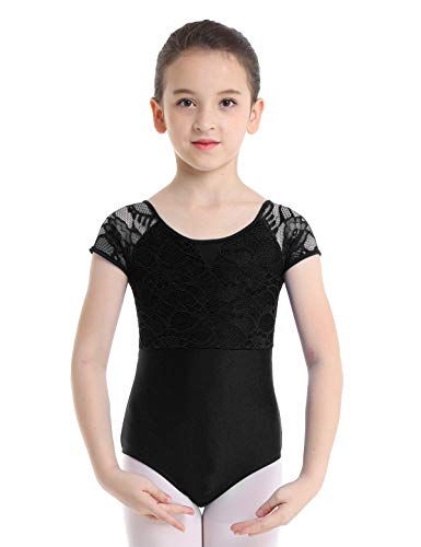 - iiniim Big Girls' Floral Lace Cap Mesh Sleeves Gymnastics Leotard Cutout Back Ballet Athletic Tank Tops Dance wear Costumes Black 8-10