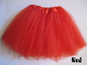 Basic Ballet Tutu - 3 Layers of Tulle - Red (Dance Costumes From China)