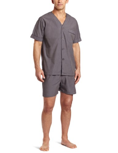 Majestic International Men's Eoe Shorty Pajama Set, Charc...