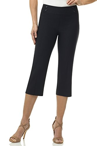 Rekucci Women's Ease in to Comfort Fit Capri with Button Detail (10,Black)