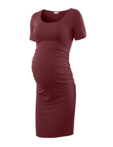 b0ab38ade38a2 Maternity Dress Bodycon Ruched Wrap Womens Causual Pregnancy Dresses Wine  Red Large