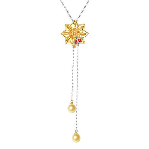 S925 Sterling Silver Sunflower with Lady Bug Long Chain Pendant Necklace for Women 26+2