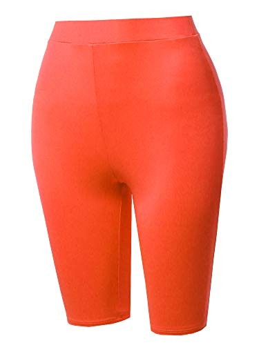 Made by Emma High Waisted Spandex Biker Shorts Yoga Leggings Neon Orange S