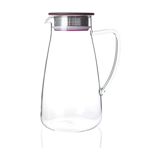 FORLIFE 838-A-CRB Flask Glass Jug Iced Tea Pitcher, 64 oz, Cranberry