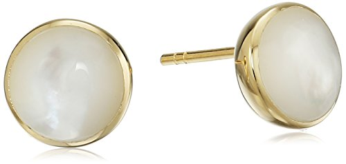 18k Yellow Gold Plated Sterling Silver Round Genuine Mother of Pearl 8mm Stud (Gold Plated Mother Of Pearl Earrings)