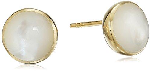 ed Sterling Silver Round Genuine Mother of Pearl 8mm Stud Earrings (18k Yellow Gold Pearl Earrings)