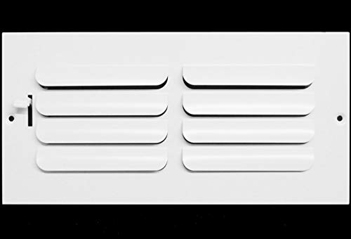 8w x 4h 1-Way Fixed Curved Blade AIR Supply Diffuser - Vent Duct Cover - Grille Register - Sidewall or Ceiling - High Airflow - White