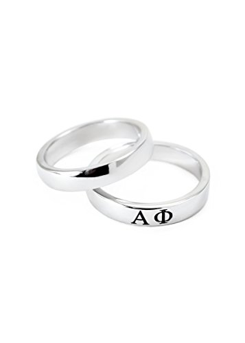 Alpha Phi Sorority Sterling Silver Skinny Band Ring