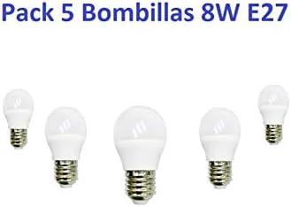 JLRLED Pack 5 Bombilla Led 8W E27 LUZ FRIA 6500K: Amazon.es: Iluminación
