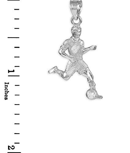 Petits Merveilles D'amour - 10 ct 471/1000 Football joueur Or Blanc Charm Sport- Pendentif