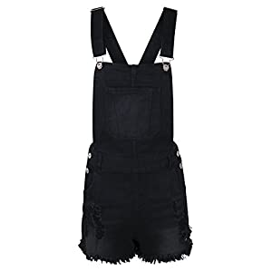 makeitmint Women's Distressed Denim Short Overall Shortall