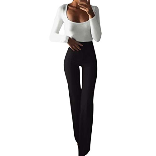 - Women's Flared Pants,Fashion Solid Elasticity Leggings Bell-Bottoms Trousers by-NEWONESUN